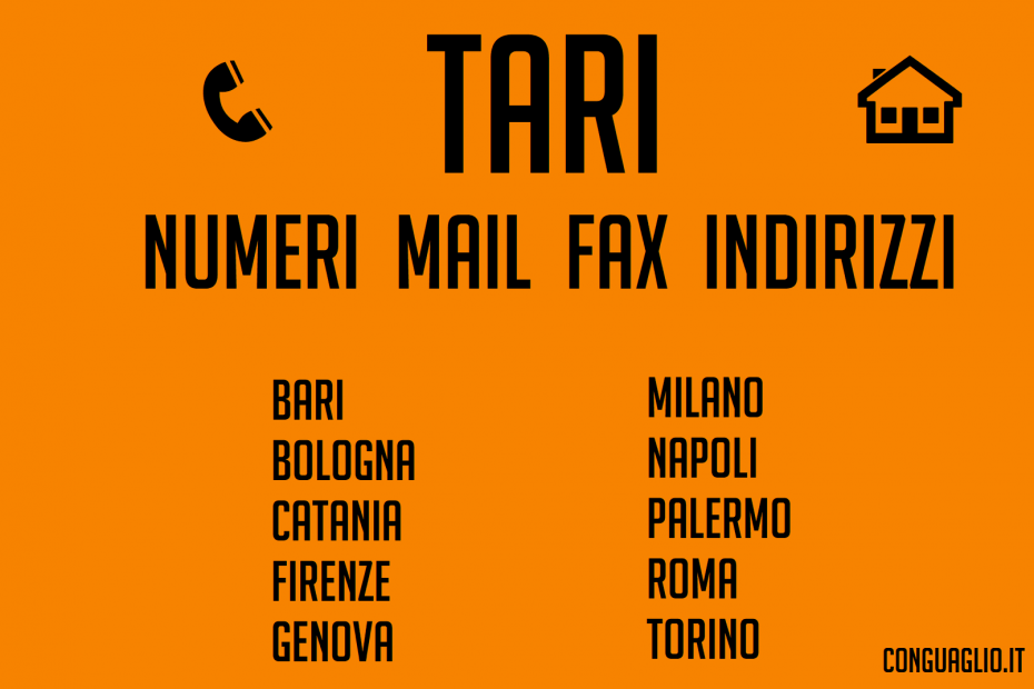 Tari: numeri, e-mail e fax